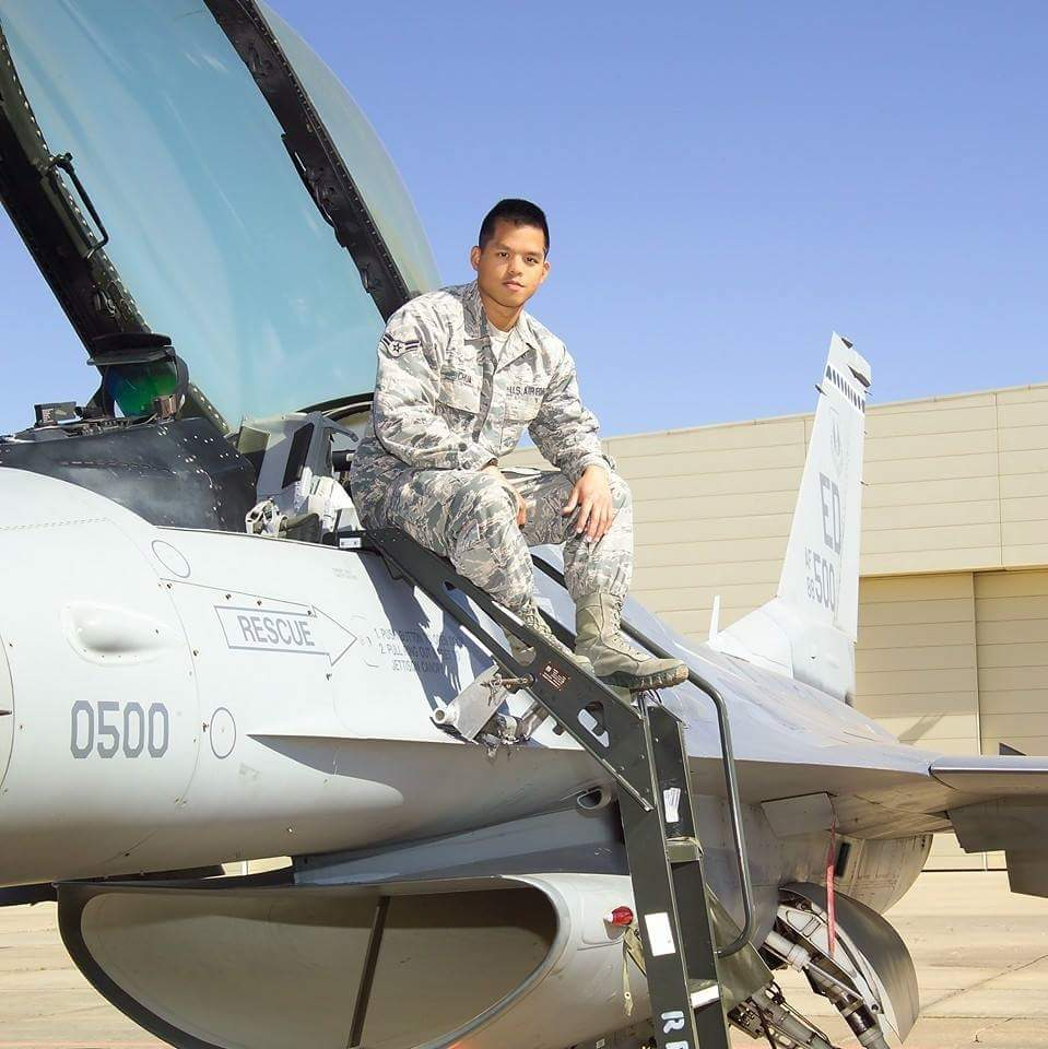 Getting Ready for Take-off: Edwin Chua, 22, gets ready to climb into the cockpit of his F-16 Fighting Falcon for aerial combat training.