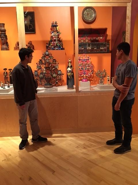 Two students admire a display at the National Museum of Mexican Art in Pilsen