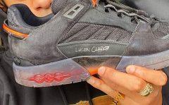 Lucien Clarke with sponsored Louis Vuitton shoe